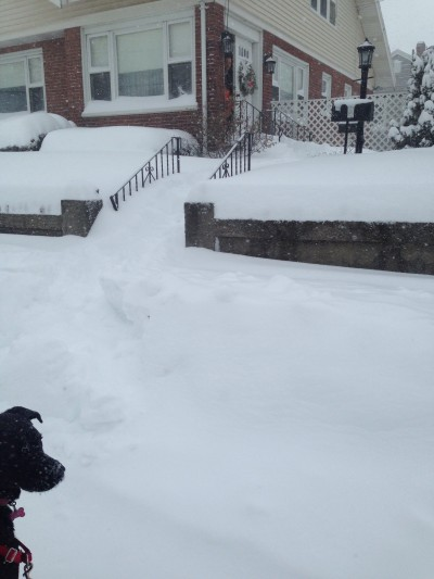Waist high snow outside of my home.